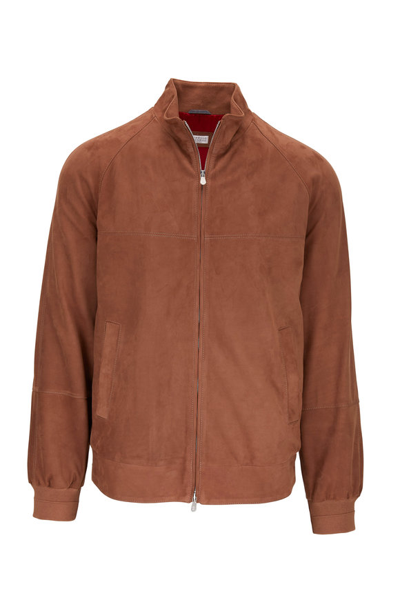 Brunello Cucinelli Medium Brown Suede Bomber Jacket