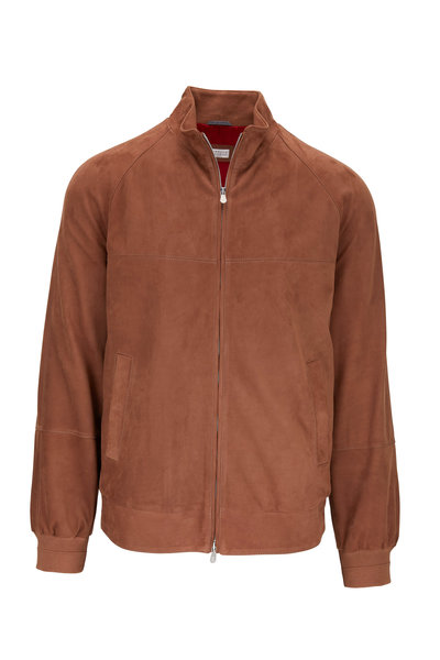 Brunello Cucinelli - Medium Brown Suede Bomber Jacket
