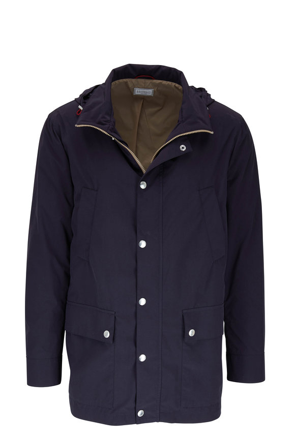 Brunello Cucinelli Navy Lightweight Water Repellent Jacket