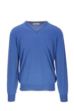 Brunello Cucinelli - Blue Wool & Cashmere V-Neck Pullover