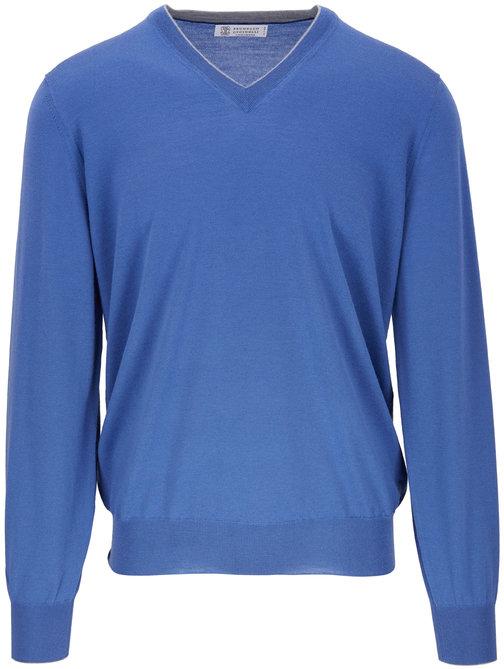 Brunello Cucinelli Blue Wool & Cashmere V-Neck Pullover