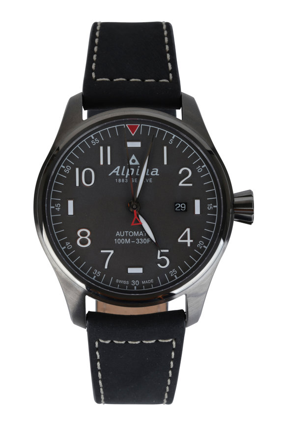 Alpina Startimer Pilot Black Automatic Watch, 44mm