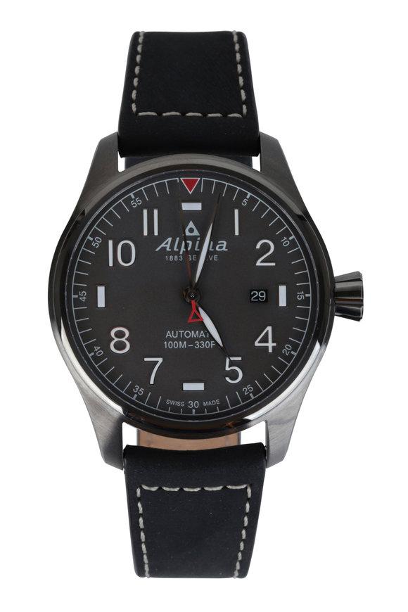 Alpina Startimer Pilot Black Automatic Watch, 44mm