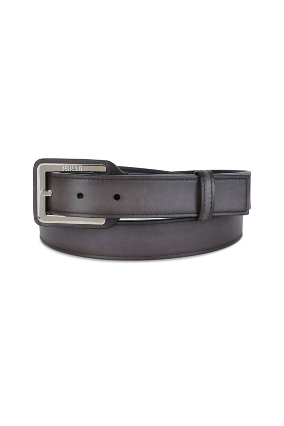 Berluti Ice Brown Square Buckle Leather Belt