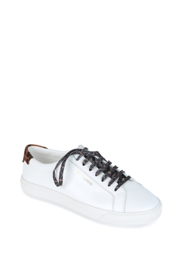 Saint Laurent Andy White Calf Hair & Leather Sneaker
