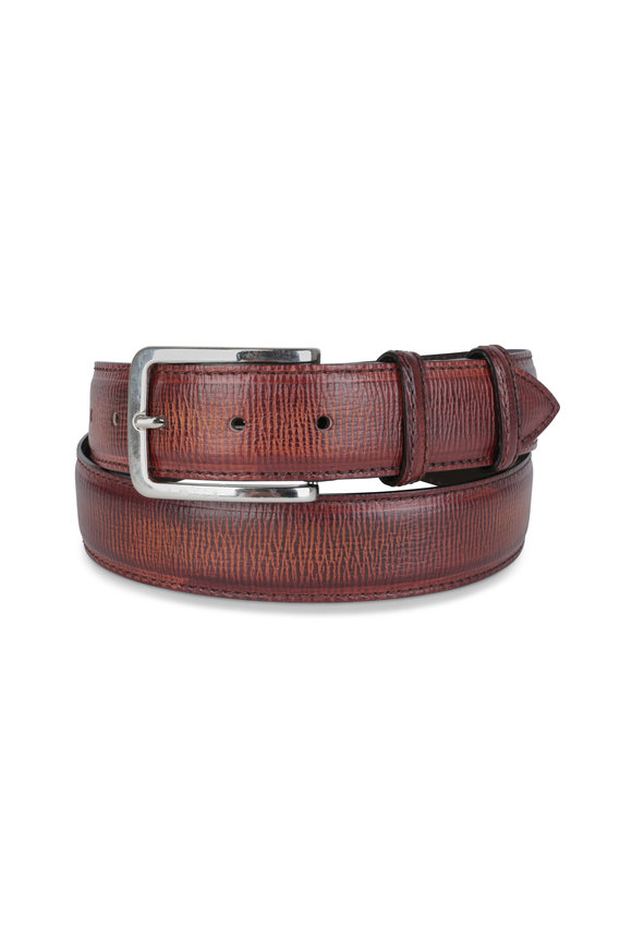 Bontoni Wood Hatch Grain Leather Belt