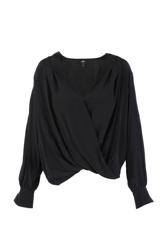 7 For All Mankind Jet Black Cross Front Blouse