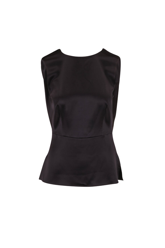 Adam Lippes Black Silk Charmeuse Cowl Back Blouse