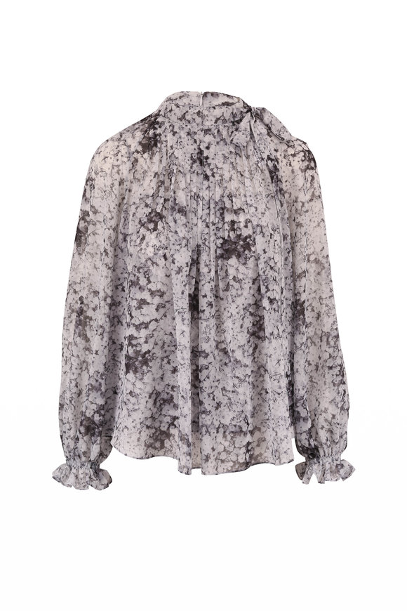 Adam Lippes Baby's Breath Chiffon Printed Pintuck Blouse