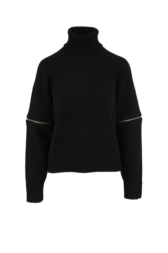 Michael Kors Collection Black Cashmere Zip Detail Turtleneck