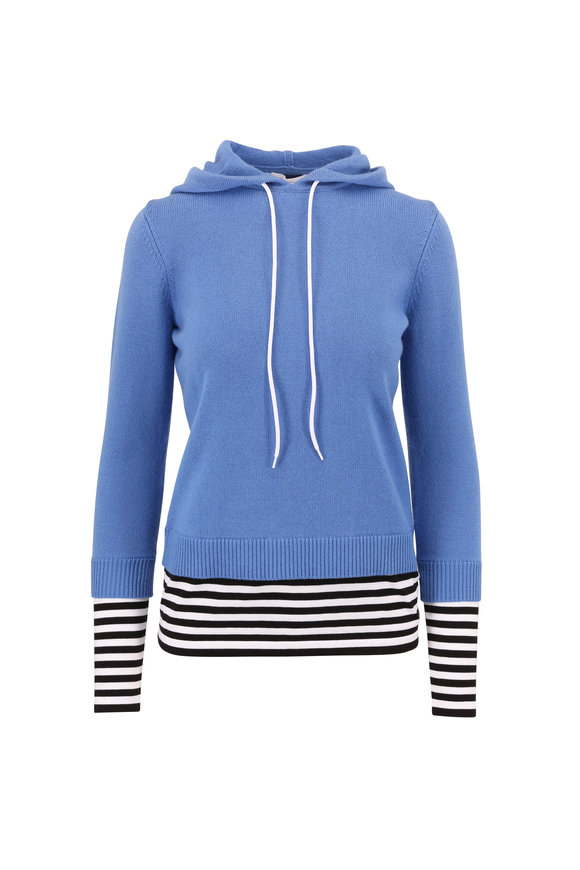 Michael Kors Collection Cadet Blue & Layered Stripe Trim Hoodie