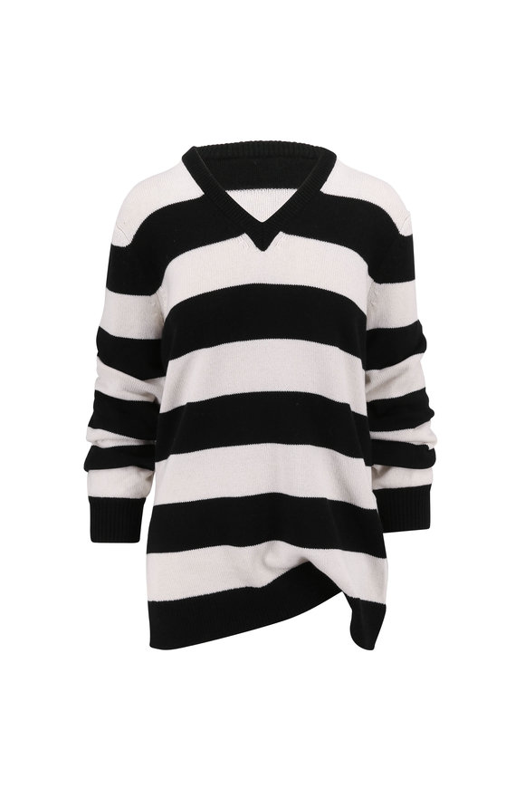 Michael Kors Collection Black & White Stripe Cashmere Ruched Sweater