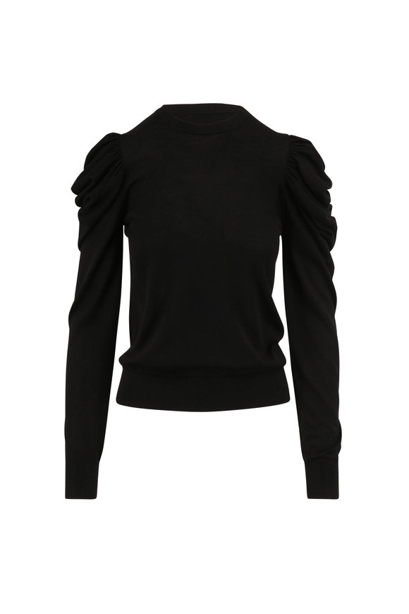 Michael Kors Collection Black Wool, Silk & Cashmere Puffed Sleeve Sweater