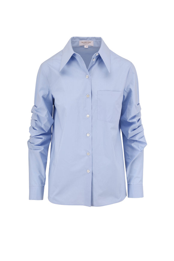 Michael Kors Collection Sky Blue Ruched Sleeve Poplin Blouse