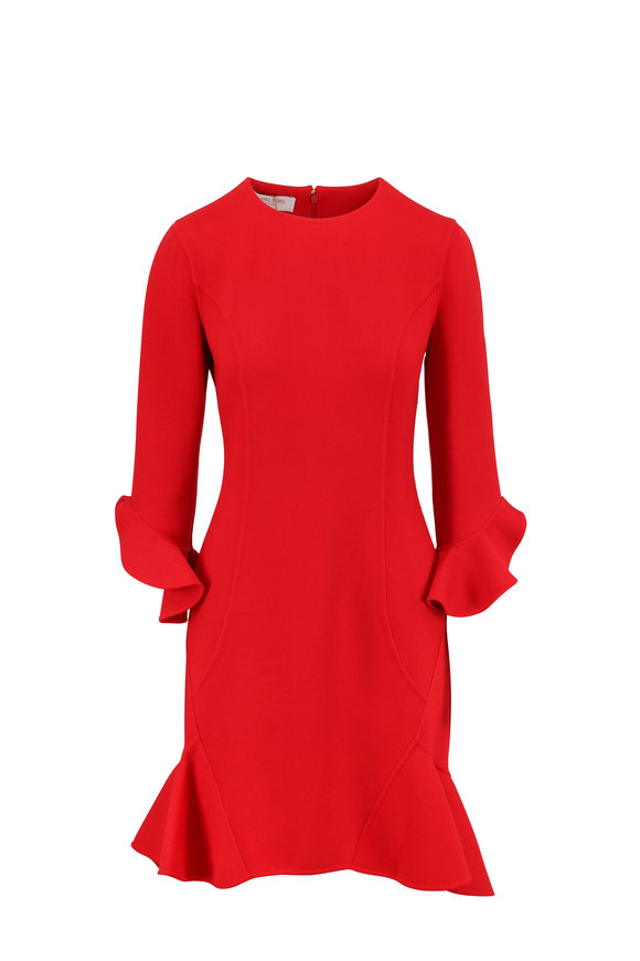 Michael Kors Collection Crimson Double-Faced Bouclé Flounce Hem Dress