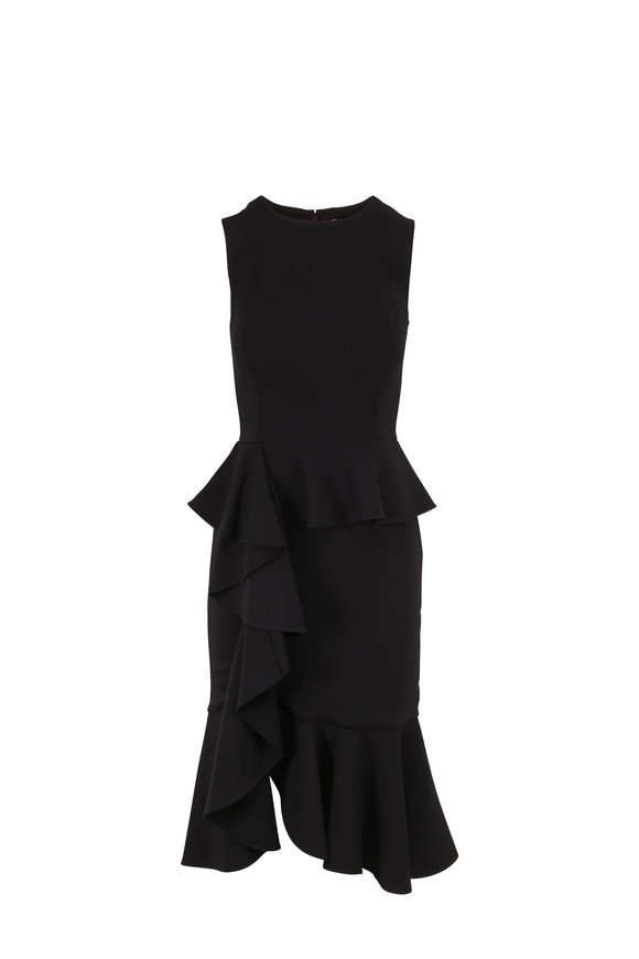 Michael Kors Collection Black Flounce Hem Sleeveless Dress