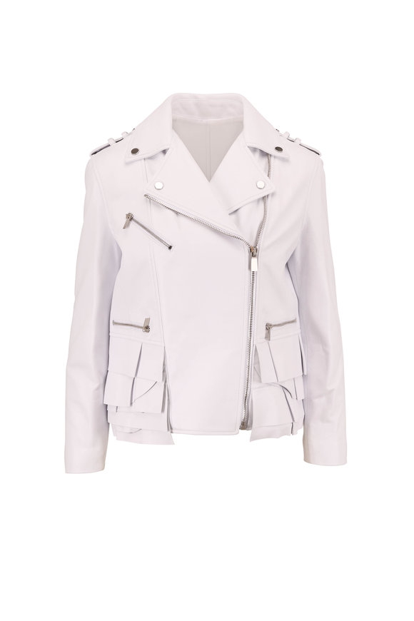 Michael Kors Collection Optic White Leather Ruffle Hem Moto Jacket