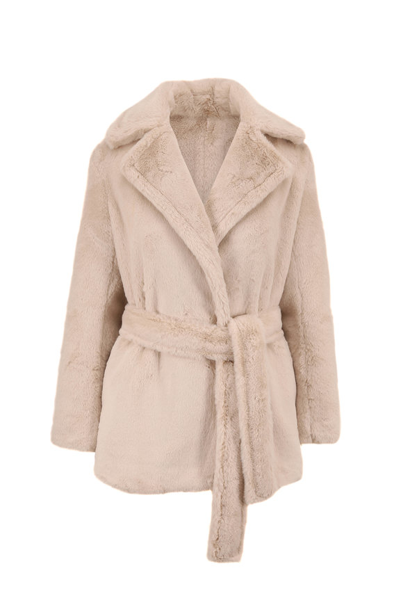 Vince Pearl Faux Fur Belted Plush Coat