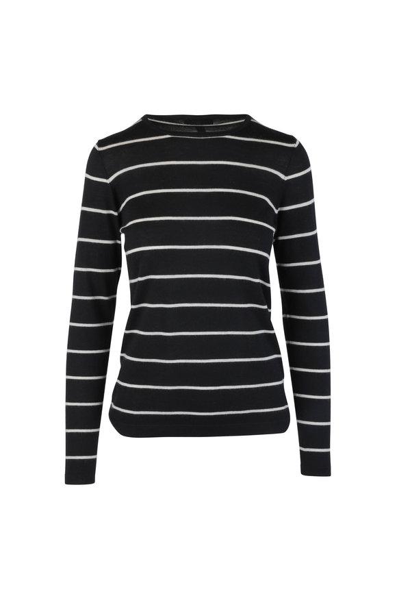 Kinross Black & Cream Striped Cashmere Sweater