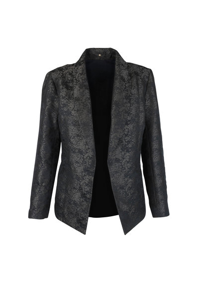 Peter Cohen - Forest Green Jacquard Open Front Jacket