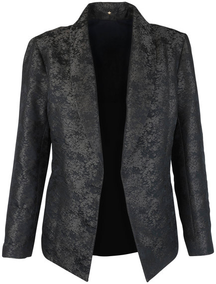 Peter Cohen Forest Green Jacquard Open Front Jacket