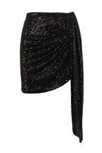 Jonathan Simkhai - Black Sequin Draped Mini Skirt