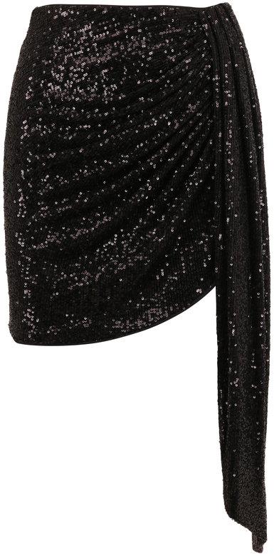 Jonathan Simkhai Black Sequin Draped Mini Skirt
