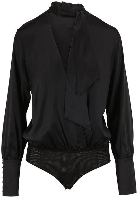 Jonathan Simkhai Black Silk Wrap Front Charmeuse Bodysuit