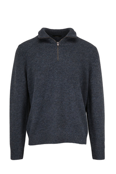 Vince - Heather Seaside Wool Blend Quarter-Zip Pullover