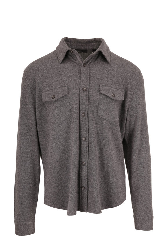 Vince Medium Heather Gray Wool & Cashmere Overshirt