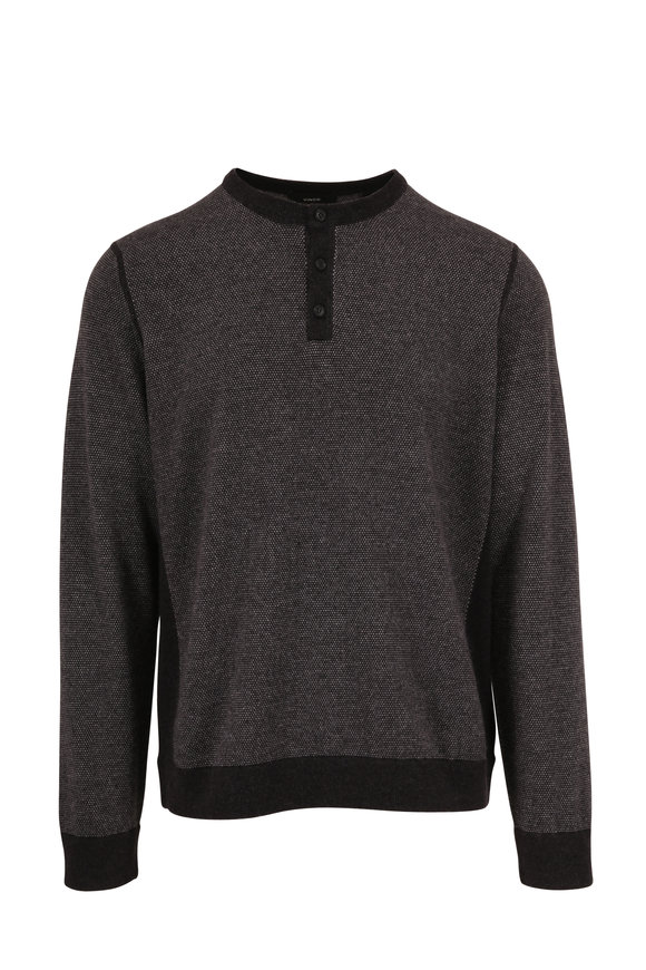 Vince Charcoal & Gray Birdseye Wool & Cashmere Henley