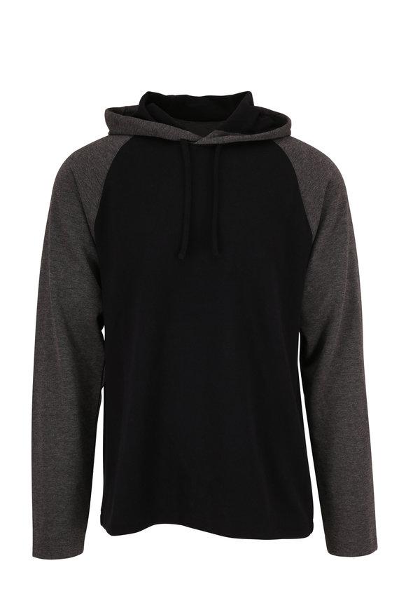 Vince Medium Gray & Black Colorblock Hoodie