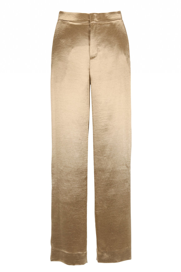 Vince Pale Gold Metallic Textured Wide Leg Pant