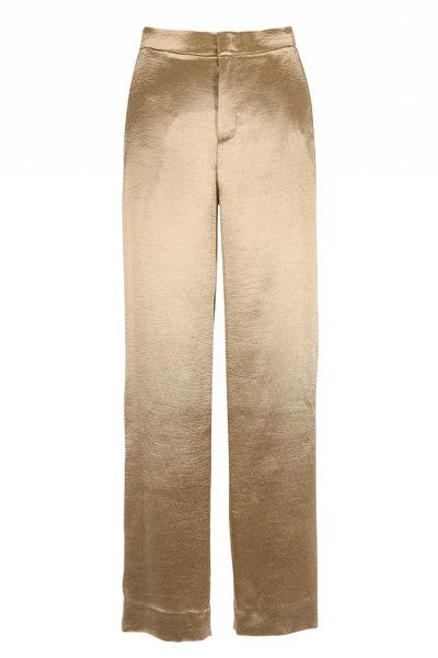 Vince - Pale Gold Metallic Textured Wide Leg Pant