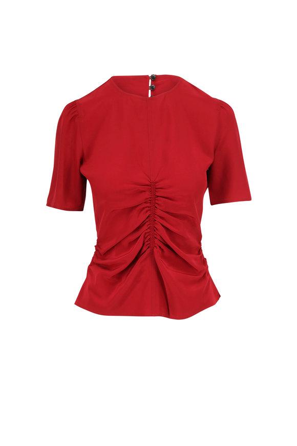 Rag & Bone Maris Deep Berry Silk Ruched Short Sleeve Top