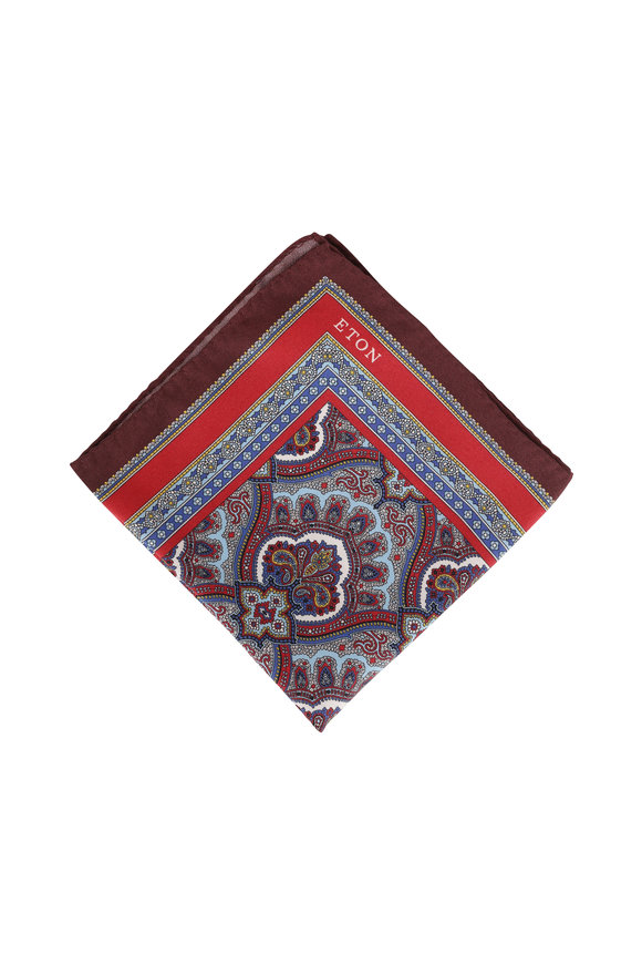 Eton Burgundy Paisley Silk Pocket Square