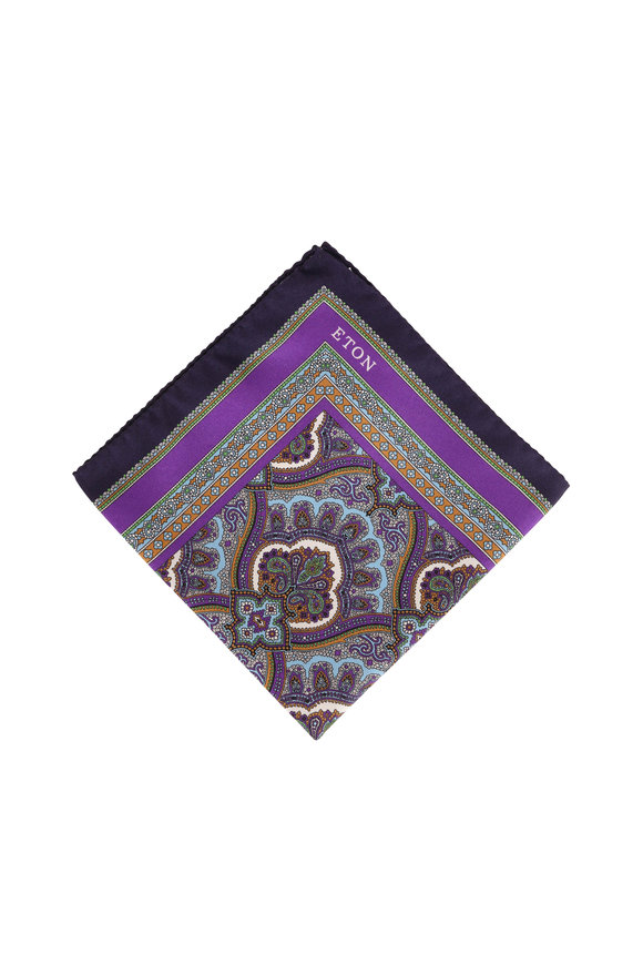 Eton Purple Paisley Silk Pocket Square