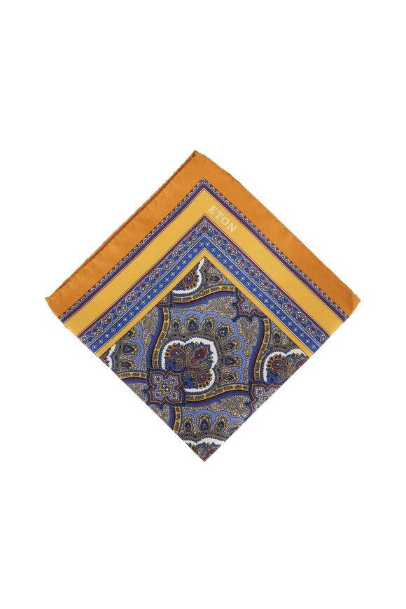 Eton Yellow Paisley Silk Pocket Square