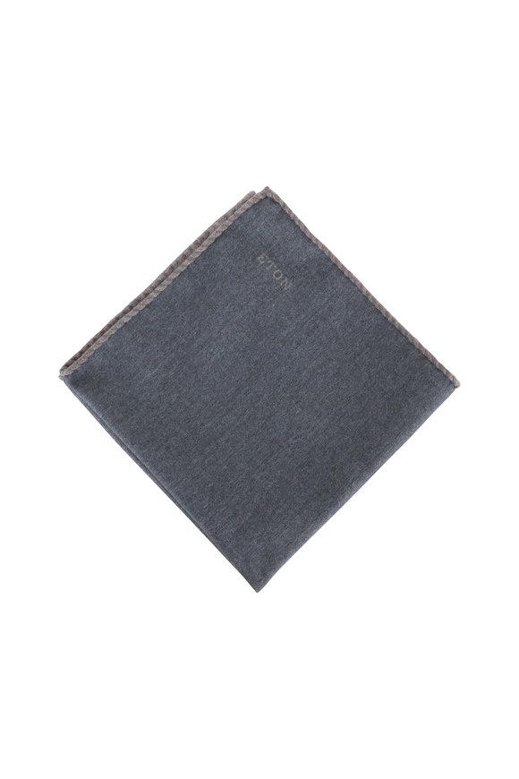 Eton Light Gray Wool Pocket Square
