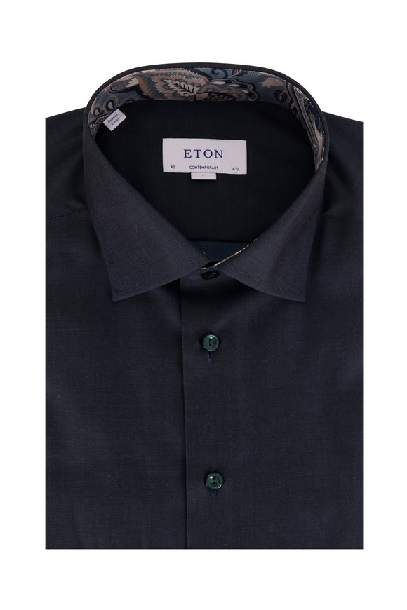 Eton Solid Navy Blue Contemporary Fit Dress Shirt