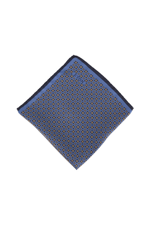 Eton Light Blue Geometric Silk Pocket Square