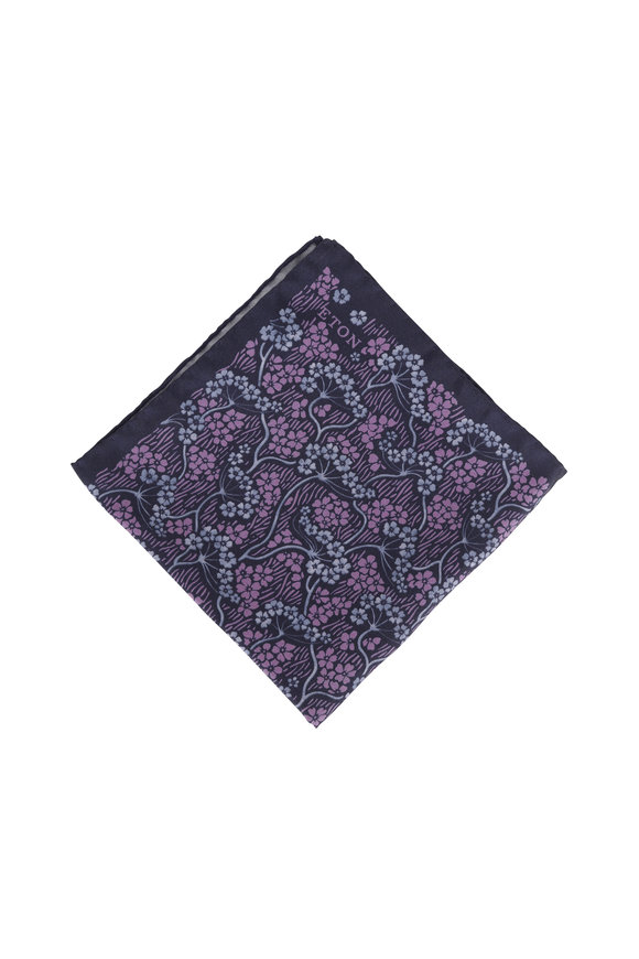 Eton Navy Blue & Purple Floral Silk Pocket Square