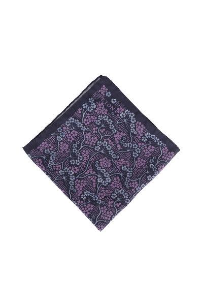 Eton - Navy Blue & Purple Floral Silk Pocket Square