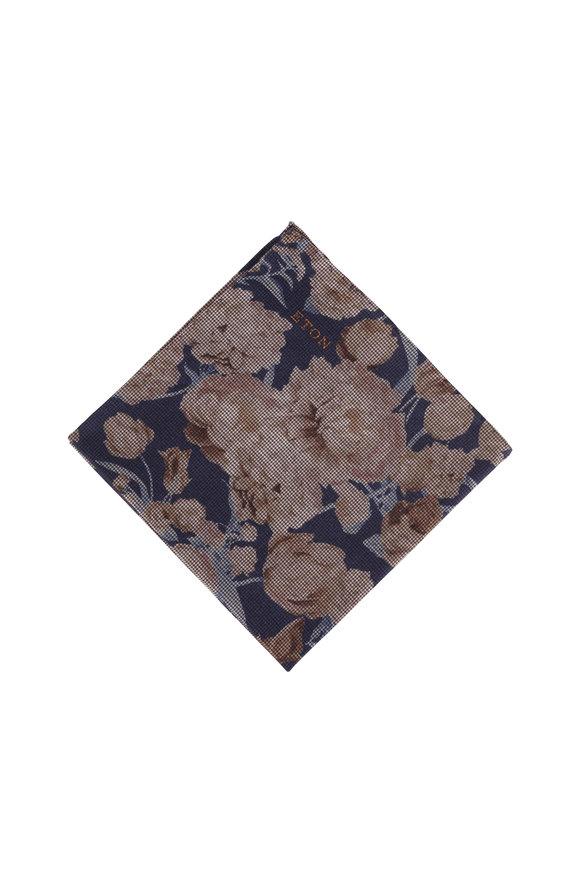 Eton Navy Blue Floral Cotton Pocket Square