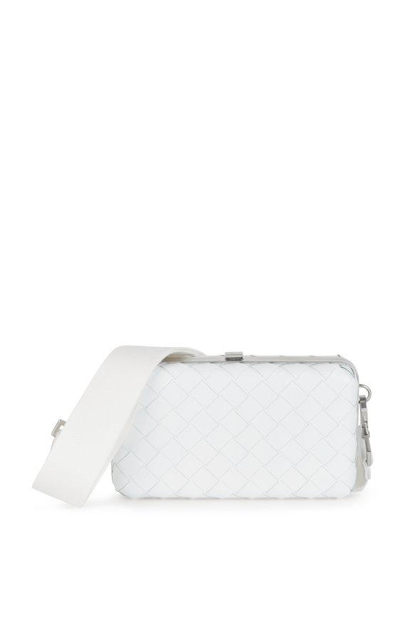 Bottega Veneta White Woven Leather Crossbody Bag