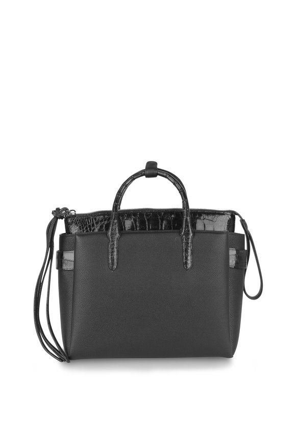 Nancy Gonzalez Black Leather & Crocodile Top Handle Bag