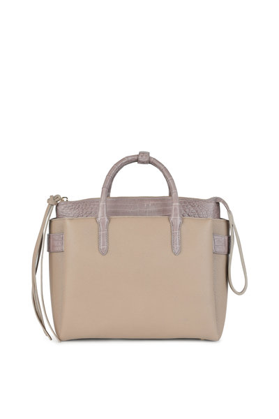 Nancy Gonzalez - Taupe Leather & Crocodile Top Handle Bag