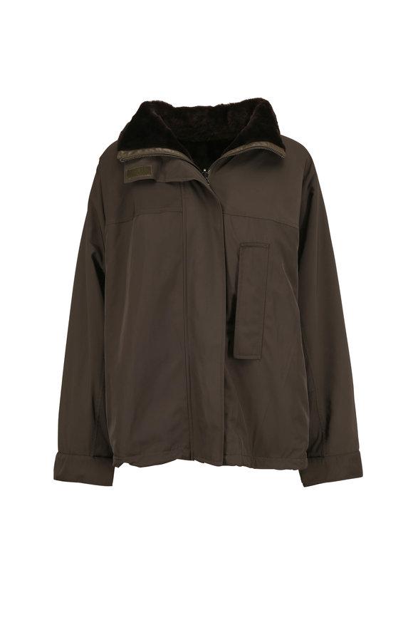 Yves Salomon  Olive Green Nylon & Fur Reversible Hooded Coat