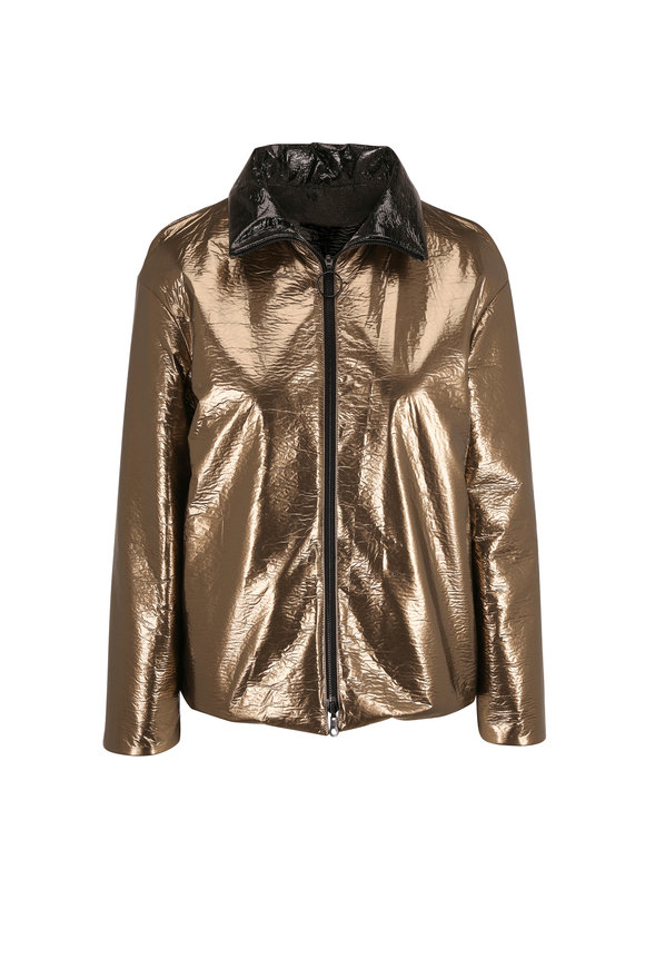 Akris Punto Gold & Black Metallic Reversible Jacket