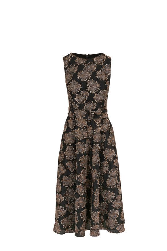 Akris Punto Black & Gold Jacquard Belted Sleeveless Dress